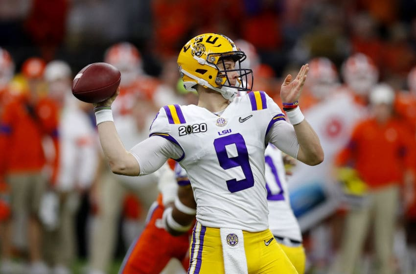 NEW ORLEANS, LOUISIANA - JANUARY 13: Joe Burrow #9 of the LSU Tigers throws a pass against the Clemson Tigers during the second quarter in the College Football Playoff National Championship game at Mercedes Benz Superdome on January 13, 2020 in New Orleans, Louisiana. (Photo by Jonathan Bachman/Getty Images)