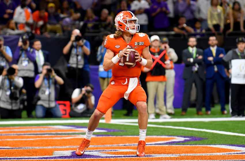 NEW ORLEANS, LOUISIANA - JANUARY 13: Trevor Lawrence #16 of the Clemson Tigers sits in the pocket during the second quarter of the College Football Playoff National Championship game against the LSU Tigers at the Mercedes Benz Superdome on January 13, 2020 in New Orleans, Louisiana. The LSU Tigers topped the Clemson Tigers, 42-25. (Photo by Alika Jenner/Getty Images)