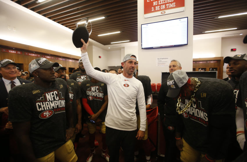 SANTA CLARA, CA - JANUARY 19: Head Coach Kyle Shanahan of the San Francisco 49ers addresses the team in the locker room following game against the Green Bay Packers at Levi's Stadium on January 19, 2020 in Santa Clara, California. The 49ers defeated the Packers 37-20. (Photo by Michael Zagaris/San Francisco 49ers/Getty Images)