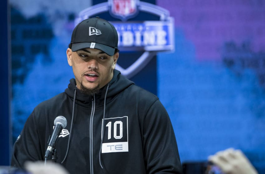 INDIANAPOLIS, IN - FEBRUARY 25: Thaddeus Moss #TE10 of the LSU Tigers speaks to the media at the Indiana Convention Center on February 25, 2020 in Indianapolis, Indiana. (Photo by Michael Hickey/Getty Images) *** Local Capture *** Thaddeus Moss