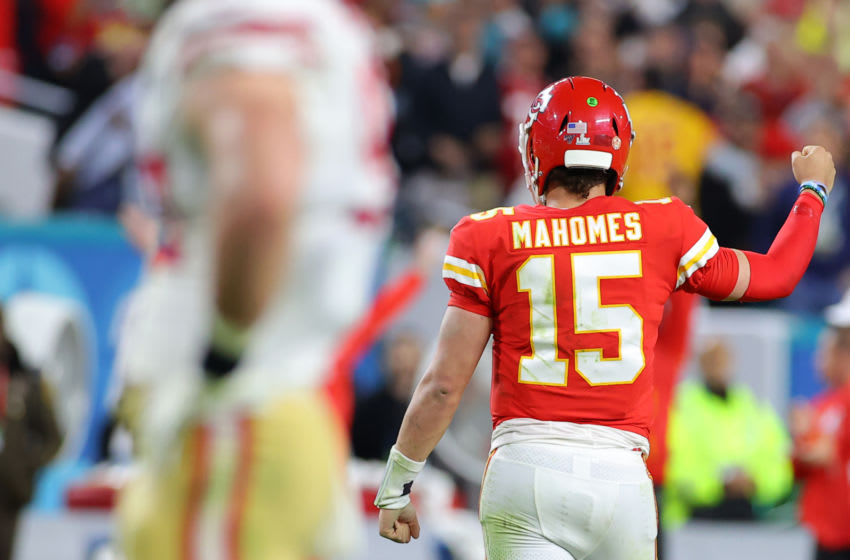 MIAMI, FLORIDA - FEBRUARY 02: Patrick Mahomes #15 of the Kansas City Chiefs reacts during the game against the San Francisco 49ers in Super Bowl LIV at Hard Rock Stadium on February 02, 2020 in Miami, Florida. (Photo by Kevin C. Cox/Getty Images)