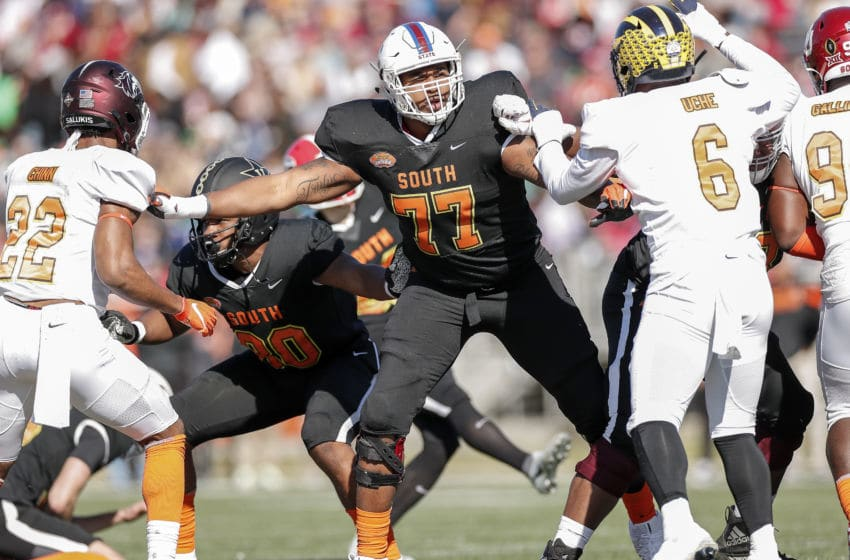 MOBILE, AL - JANUARY 25: Offensive Lineman Alex Taylor #77 from South Carolina State of the South Team during the 2020 Resse's Senior Bowl at Ladd-Peebles Stadium on January 25, 2020 in Mobile, Alabama. The Noth Team defeated the South Team 34 to 17. (Photo by Don Juan Moore/Getty Images)