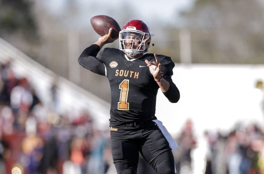 MOBILE, AL - JANUARY 25: Quarterback Jalen Hurts #1 from Oklahoma of the South Team on a pass play during the 2020 Resse's Senior Bowl at Ladd-Peebles Stadium on January 25, 2020 in Mobile, Alabama. The North Team defeated the South Team 34 to 17. (Photo by Don Juan Moore/Getty Images)