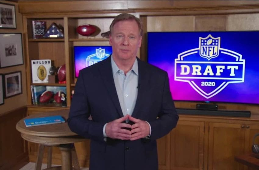 UNSPECIFIED LOCATION - APRIL 23: (EDITORIAL USE ONLY) In this still image from video provided by the NFL, NFL Commissioner Roger Goodell speaks from his home in Bronxville, New York during the first round of the 2020 NFL Draft on April 23, 2020. (Photo by NFL via Getty Images)