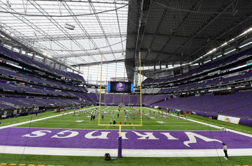 MINNEAPOLIS, MINNESOTA - AUGUST 28: A general view of U.S. Bank Stadium as the Minnesota Vikings practice during training camp on August 28, 2020 at U.S. Bank Stadium in Minneapolis, Minnesota. (Photo by Hannah Foslien/Getty Images)