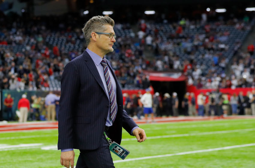 HOUSTON, TX - FEBRUARY 05: Atlanta Falcons general manager Thomas Dimitroff looks on during warm ups prior to Super Bowl 51 against the New England Patriots at NRG Stadium on February 5, 2017 in Houston, Texas. (Photo by Kevin C. Cox/Getty Images)