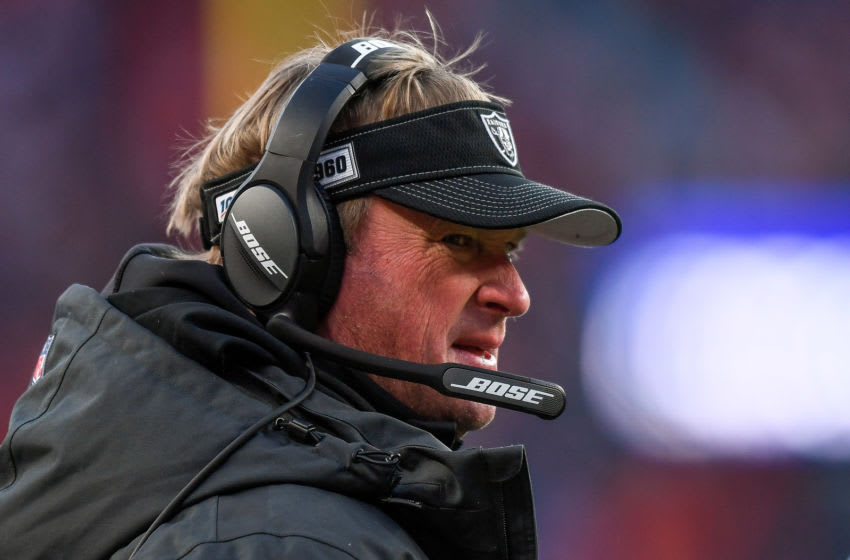DENVER, CO - DECEMBER 29: Head coach Jon Gruden of the Oakland Raiders looks on from the sideline during a game against the Denver Broncos at Empower Field at Mile High on December 29, 2019 in Denver, Colorado. (Photo by Dustin Bradford/Getty Images)