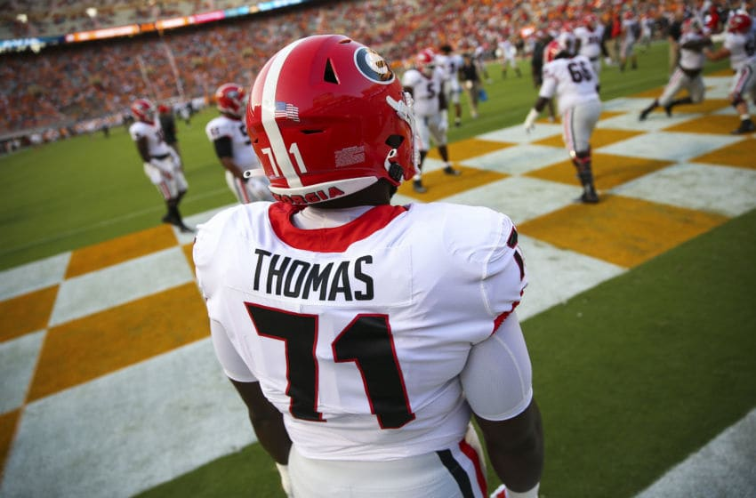 KNOXVILLE, TENNESSEE - OCTOBER 05: Andrew Thomas #71 of the Georgia Bulldogs warms up on the field before the game against the Tennessee Volunteers at Neyland Stadium on October 05, 2019 in Knoxville, Tennessee. (Photo by Silas Walker/Getty Images)
