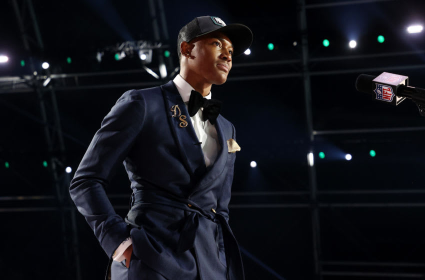 DeVonta Smith speaks onstage after being selected 10th by the Philadelphia Eagles. (Photo by Gregory Shamus/Getty Images)