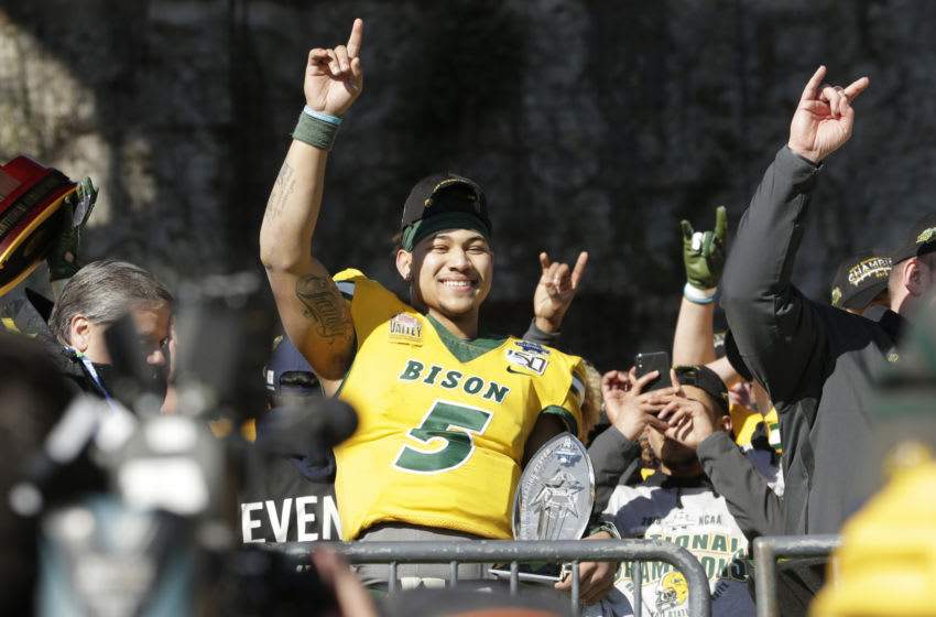 Jan 11, 2020; Frisco, Texas, USA; North Dakota State Bison quarterback Trey Lance (5) celebrates winning the game against the James Madison Dukes at Toyota Stadium. Mandatory Credit: Tim Heitman-USA TODAY Sports