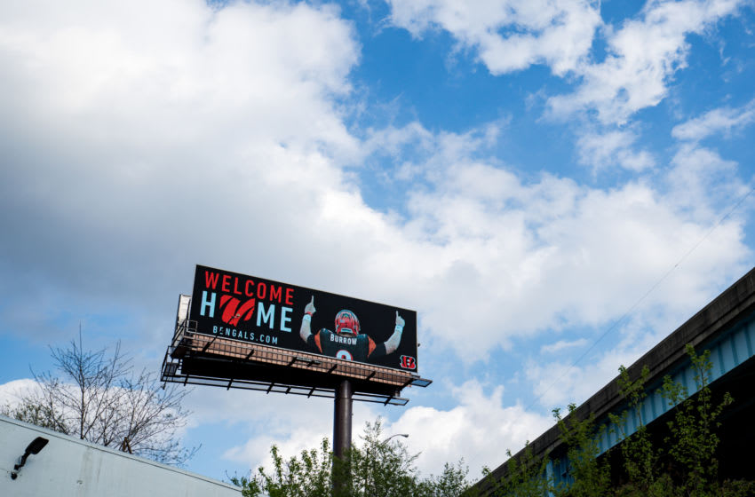 Apr 24, 2020; Cincinnati, Ohio, USA; A view of a billboard on Expressway Ohio State Route 562 welcoming LSU quarterback Joe Burrow to Cincinnati, after being selected number one overall in the 2020 NFL Draft. Mandatory Credit: Aaron Doster-USA TODAY Sports