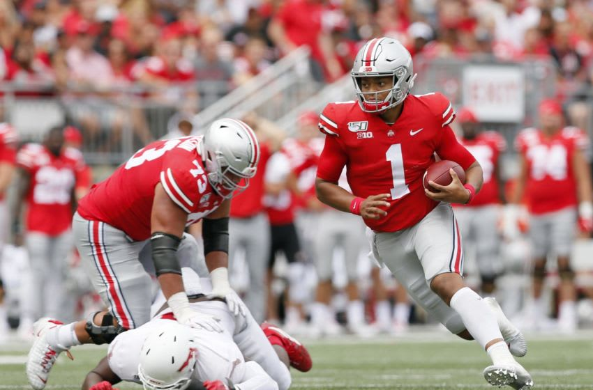 Ohio State, led by start quarterback Justin Fields (1), was ranked No. 2 in the preseason coaches poll. Now, the Buckeyes and other Big Ten teams will remain idle until at least next spring. ghows-CK-200819941-1a1c9dc7.jpg