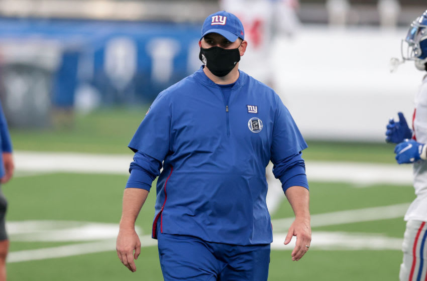 Aug 28, 2020; East Rutherford, New Jersey, USA; New York Giants head coach Joe Judge before the Blue-White Scrimmage at MetLife Stadium. Mandatory Credit: Vincent Carchietta-USA TODAY Sports