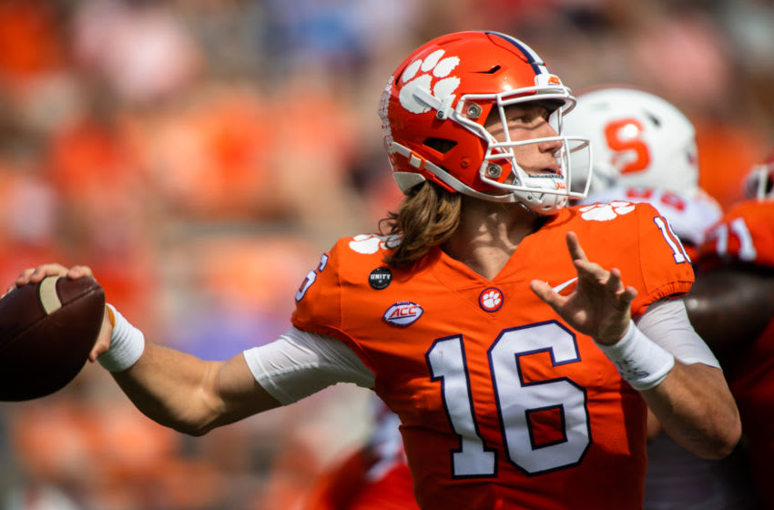 Oct 24, 2020; Clemson, South Carolina, USA; Clemson quarterback Trevor Lawrence (16) makes a pass during their game in the second half against Syracuse at Memorial Stadium. Mandatory Credit: Ken Ruinard-USA TODAY Sports
