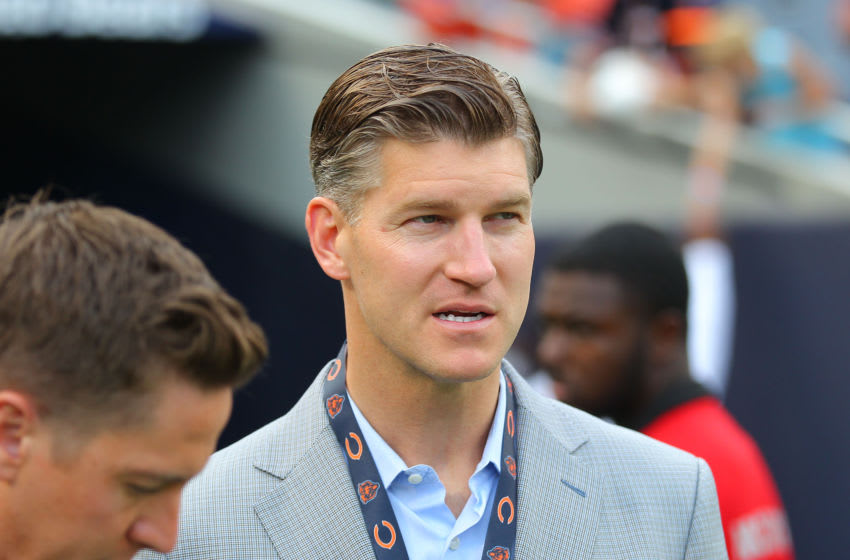 Aug 10, 2017; Chicago, IL, USA; Chicago Bears general manager Ryan Pace watches warm ups on the field prior to a game against the Denver Broncos at Soldier Field. Mandatory Credit: Dennis Wierzbicki-USA TODAY Sports