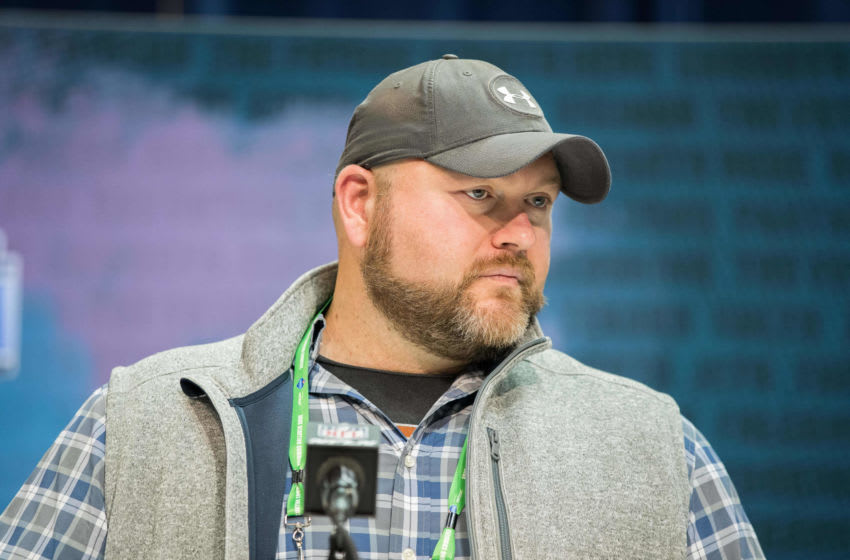 Feb 25, 2020; Indianapolis, Indiana, USA; New York Jets head coach Joe Douglas speaks to the media during the 2020 NFL Combine in the Indianapolis Convention Center. Mandatory Credit: Trevor Ruszkowski-USA TODAY Sports