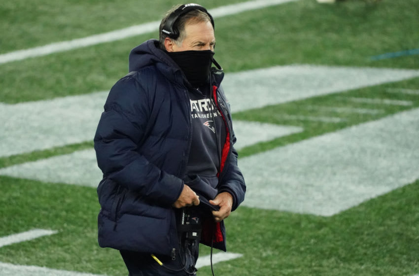 Dec 28, 2020; Foxborough, Massachusetts, USA; New England Patriots head coach Bill Belichick watches from the sideline as they take on the Buffalo Bills in the first quarter at Gillette Stadium. Mandatory Credit: David Butler II-USA TODAY Sports