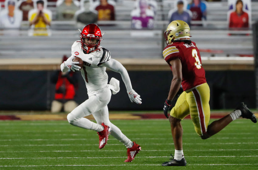 Louisville Cardinals wide receiver Tutu Atwell (1) runs against the Boston College Eagles. Mandatory Credit: Winslow Townson-USA TODAY Sports