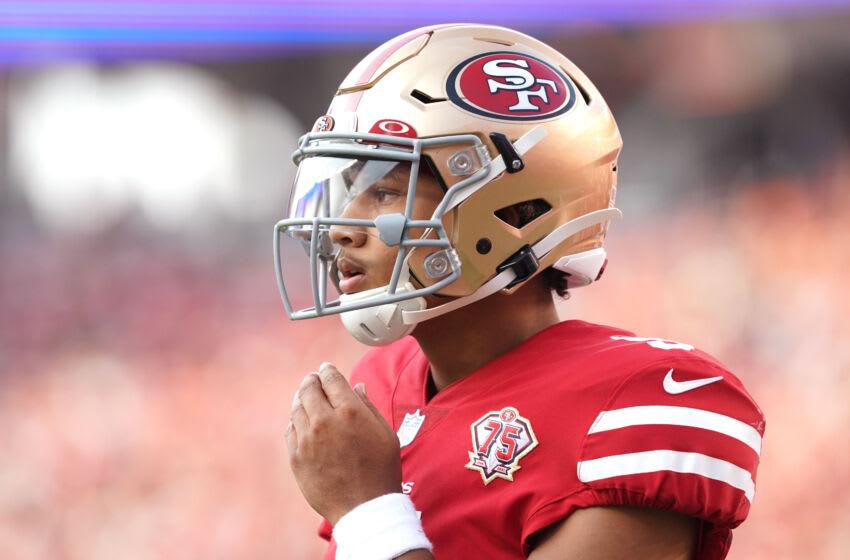 San Francisco 49ers quarterback Trey Lance (5). Mandatory Credit: Darren Yamashita-USA TODAY Sports