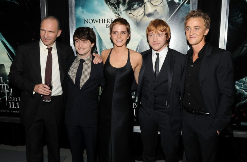 NEW YORK - NOVEMBER 15: (L-R) Actors Ralph Fiennes, Daniel Radcliffe, Emma Watson, Rupert Grint and Tom Felton attend the premiere of