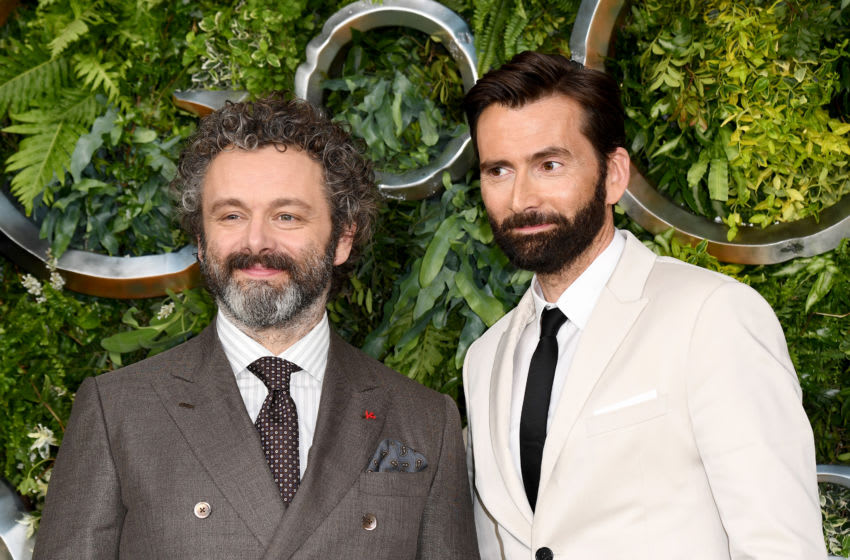LONDON, ENGLAND - MAY 28: Michael Sheen (L) and David Tennant attend the Global premiere of Amazon Original