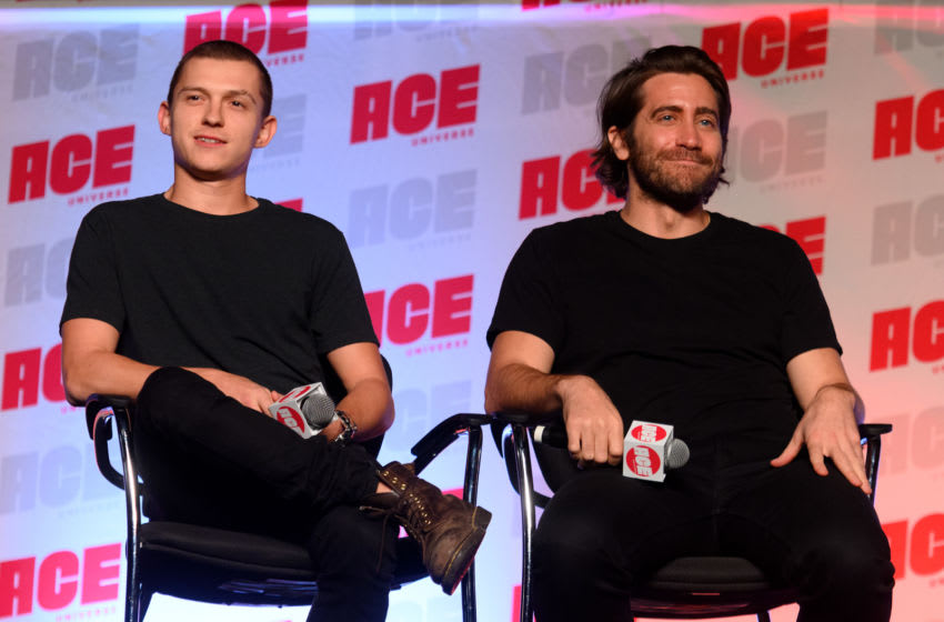 CHICAGO, ILLINOIS - OCTOBER 12: Tom Holland and Jake Gyllenhaal speak onstage during the ACE Comic Con Midwest at Donald E. Stephens Convention Center on October 12, 2019 in Rosemont, Illinois. (Photo by Daniel Boczarski/Getty Images)