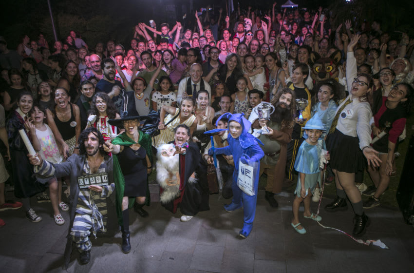 BUENOS AIRES, ARGENTINA - FEBRUARY 06: Winners of the cosplay and Harry Potter's fans pose to the photographers during the Harry Potter Book Night 2020 at the British Embassy on February 6, 2020, in Buenos Aires, Argentina. (Photo by Ricardo Ceppi/Getty Images)