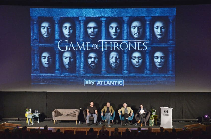 LONDON, ENGLAND - APRIL 21: Weapons Master Tommy Dunne, Comedian Al Murray, Actor Ian McElhinney and Presenter Sue Perkins during Game of Thrones: From Page to Screen part of Advertising Week Europe 2016 day 4 at Picturehouse Central on April 21, 2016 in London, England. (Photo by Jeff Spicer/Getty Images for Advertising Week Europe)