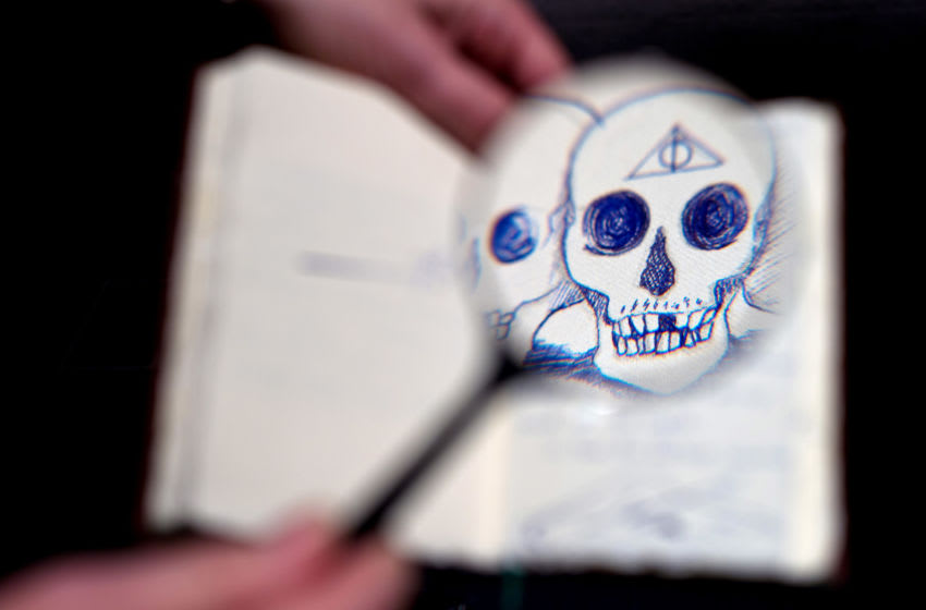 LONDON, ENGLAND - NOVEMBER 03: A unique copy of The Tales of Beedle the Bard created, hand-written and illustrated, by J.K Rowling to be auctioned at Sotheby's London on 13 December 2016 (est. £300,000-500,000) on November 3, 2016 in London, England. (Photo by Ben A. Pruchnie/Getty Images for Sotherby's )
