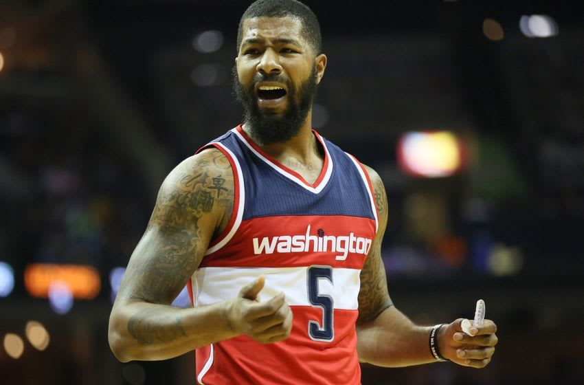 Oct 30, 2016; Memphis, TN, USA; Washington Wizards forward Markieff Morris (5) reacts to a call in the first quarter of the game against the Memphis Grizzlies at FedExForum. Mandatory Credit: Nelson Chenault-USA TODAY Sports