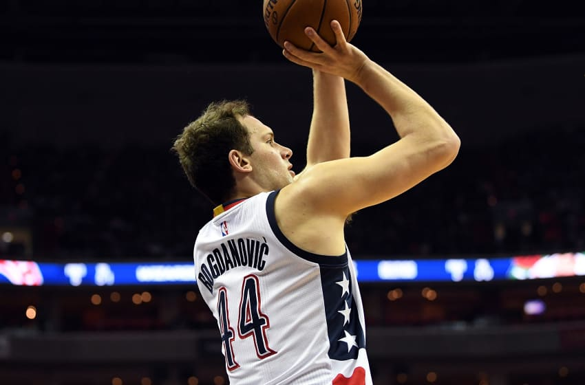 WASHINGTON, DC - MAY 04: Bojan Bogdanovic #44 of the Washington Wizards shoots the ball in the first quarter against the Boston Celtics in Game Three of the Eastern Conference Semifinals at Verizon Center on May 4, 2017 in Washington, DC. NOTE TO USER: User expressly acknowledges and agrees that, by downloading and or using this photograph, User is consenting to the terms and conditions of the Getty Images License Agreement. (Photo by Greg Fiume/Getty Images)