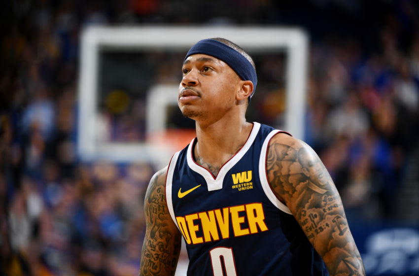 OAKLAND, CA - APRIL 2: Isaiah Thomas #0 of the Denver Nuggets looks on during the game against the Golden State Warriors on April 2, 2019 at ORACLE Arena in Oakland, California. NOTE TO USER: User expressly acknowledges and agrees that, by downloading and or using this photograph, user is consenting to the terms and conditions of Getty Images License Agreement. Mandatory Copyright Notice: Copyright 2019 NBAE (Photo by Garrett Ellwood/NBAE via Getty Images)