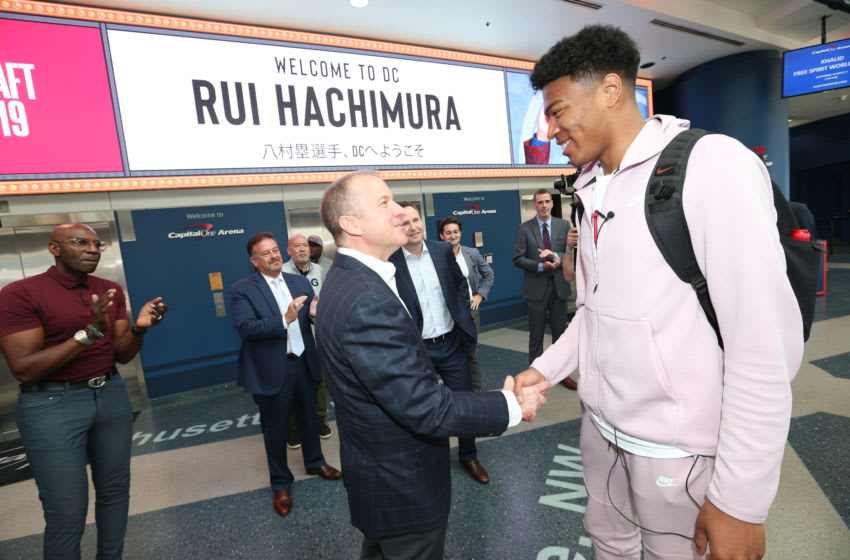 WASHINGTON, DC - JUNE 21: Washington Wizards 2019 draft pick Rui Hachimura arrives at his introductory press conference at Capital One Arena on June 21, 2019 in Washington, DC. NOTE TO USER: User expressly acknowledges and agrees that, by downloading and or using this photograph, User is consenting to the terms and conditions of the Getty Images License Agreement. (Photo by Ned Dishman/NBAE via Getty Images)