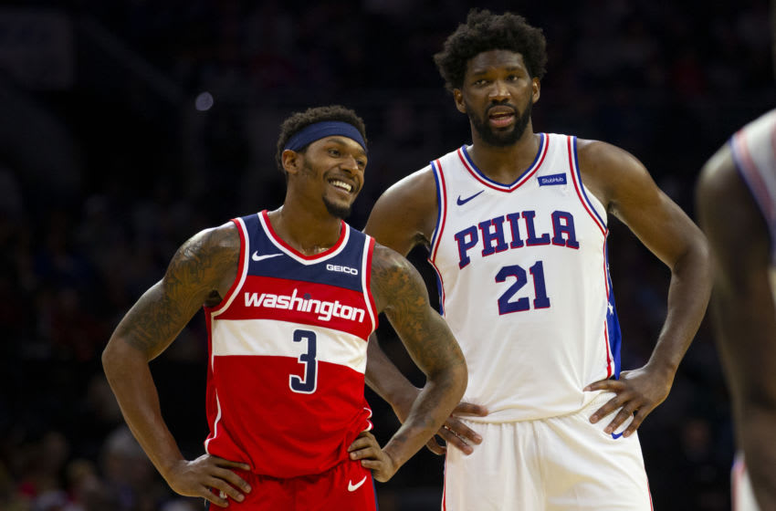 Washington Wizards Bradley Beal Joel Embiid (Photo by Mitchell Leff/Getty Images)
