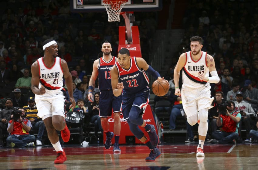 WASHINGTON, DC -  NOVEMBER 25: Otto Porter Jr. #22 of the Washington Wizards handles the ball against the Portland Trail Blazers on November 25, 2017 at Capital One Arena in Washington, DC. NOTE TO USER: User expressly acknowledges and agrees that, by downloading and or using this Photograph, user is consenting to the terms and conditions of the Getty Images License Agreement. Mandatory Copyright Notice: Copyright 2017 NBAE (Photo by Ned Dishman/NBAE via Getty Images)