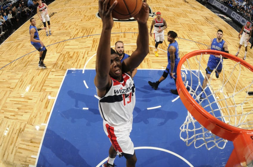 ORLANDO, FL - NOVEMBER 17: Thomas Bryant #13 of the Washington Wizards shoots the ball against the Orlando Magic on November 17, 2019 at Amway Center in Orlando, Florida. NOTE TO USER: User expressly acknowledges and agrees that, by downloading and or using this photograph, User is consenting to the terms and conditions of the Getty Images License Agreement. Mandatory Copyright Notice: Copyright 2019 NBAE (Photo by Fernando Medina/NBAE via Getty Images)