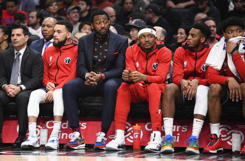 LOS ANGELES, CA - DECEMBER 01: Washington Wizards Guard John Wall (2) and Washington Wizards Guard Bradley Beal (3) look on from the bench during a NBA game between the Washington Wizards and the Los Angeles Clippers on December 1, 2019 at STAPLES Center in Los Angeles, CA. (Photo by Brian Rothmuller/Icon Sportswire via Getty Images)