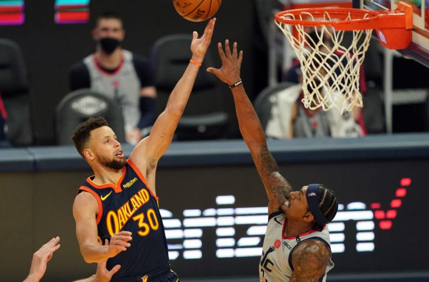 Washington Wizards Bradley Beal Stephen Curry. Mandatory Credit: Darren Yamashita-USA TODAY Sports