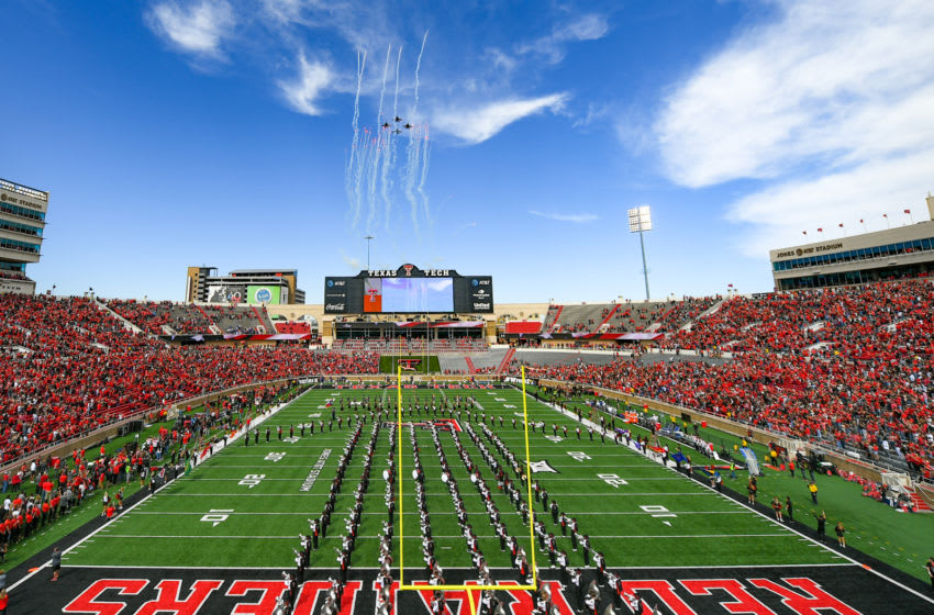 LUBBOCK, TX - OCTOBER 20: General view of an F18 flyover during the National Anthem before the game between the Texas Tech Red Raiders and the Kansas Jayhawks on October 20, 2018 at Jones AT&T Stadium in Lubbock, Texas. Texas Tech defeated Kansas 48-16. (Photo by John Weast/Getty Images)
