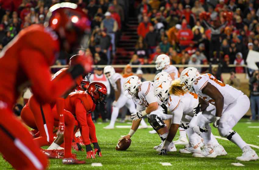 LUBBOCK, TX - NOVEMBER 10: General view of the line of scrimmage during the game between the Texas Tech Red Raiders and the Texas Longhorns on November 10, 2018 at Jones AT&T Stadium in Lubbock, Texas. Texas defeated Texas Tech 41-34. (Photo by John Weast/Getty Images)