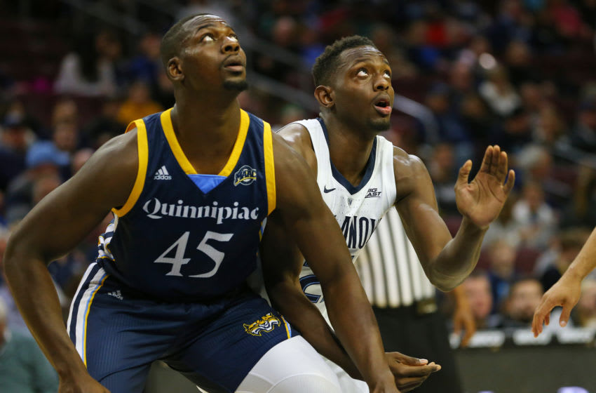 PHILADELPHIA, PA - NOVEMBER 10: Kevin Marfo #45 of the Quinnipiac Bobcats in action against Jermaine Samuels #23 of the Villanova Wildcats during a game at Wells Fargo Center on November 10, 2018 in Philadelphia, Pennsylvania. (Photo by Rich Schultz/Getty Images)