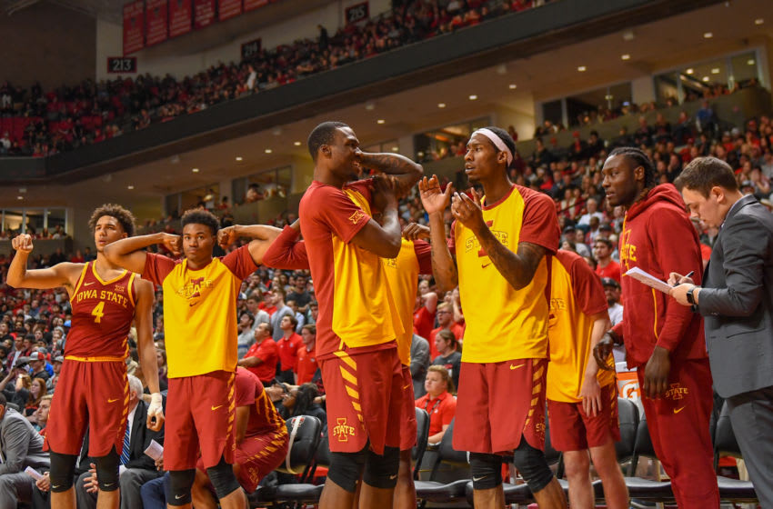 LUBBOCK, TX - JANUARY 16: Iowa State Cyclones celebrate their play on the court during the second half of the game against the Texas Tech Red Raiders on January 16, 2019 at United Supermarkets Arena in Lubbock, Texas. Iowa State defeated Texas Tech 68-64. (Photo by John Weast/Getty Images)