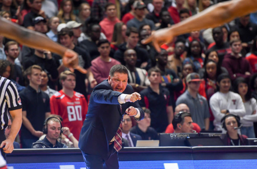 LUBBOCK, TX - JANUARY 26: Head coach Chris Beard of the Texas Tech Red Raiders positions his players during the second half of the game against the Arkansas Razorbacks on January 26, 2019 at United Supermarkets Arena in Lubbock, Texas. Texas Tech defeated Arkansas 67-64. (Photo by John Weast/Getty Images)