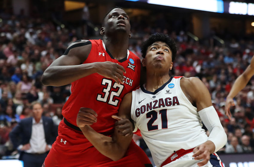 ANAHEIM, CALIFORNIA - MARCH 30: Norense Odiase #32 of the Texas Tech Red Raiders fights for position against Rui Hachimura #21 of the Gonzaga Bulldogs during the first half of the 2019 NCAA Men's Basketball Tournament West Regional at Honda Center on March 30, 2019 in Anaheim, California. (Photo by Sean M. Haffey/Getty Images)