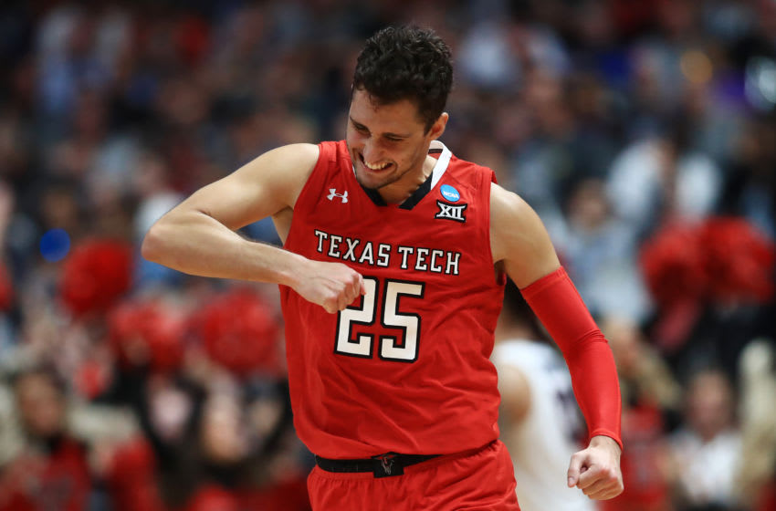 ANAHEIM, CALIFORNIA - MARCH 30: Davide Moretti #25 of the Texas Tech Red Raiders celebrates after a play against the Gonzaga Bulldogs during the second half of the 2019 NCAA Men's Basketball Tournament West Regional at Honda Center on March 30, 2019 in Anaheim, California. (Photo by Sean M. Haffey/Getty Images)