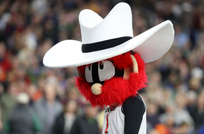 MINNEAPOLIS, MINNESOTA - APRIL 05: The Texas Tech Red Raiders mascot looks on during practice prior to the 2019 NCAA men's Final Four at U.S. Bank Stadium on April 5, 2019 in Minneapolis, Minnesota. (Photo by Streeter Lecka/Getty Images)