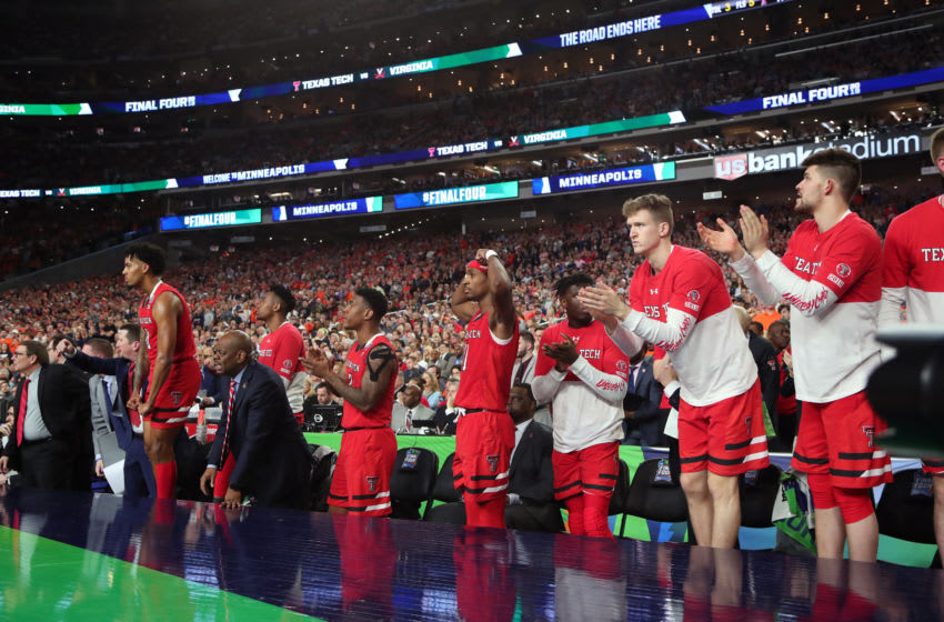MINNEAPOLIS, MINNESOTA - APRIL 08: The Texas Tech Red Raiders bench reacts against the Virginia Cavaliers in the second half during the 2019 NCAA men's Final Four National Championship game at U.S. Bank Stadium on April 08, 2019 in Minneapolis, Minnesota. (Photo by Tom Pennington/Getty Images)
