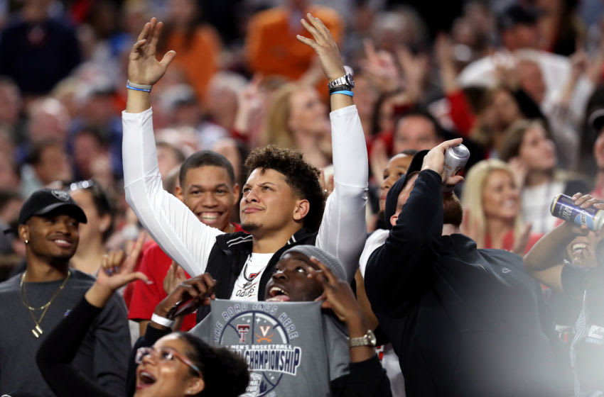 MINNEAPOLIS, MINNESOTA - APRIL 08: NFL players Patrick Mahomes and Travis Kelce attend the 2019 NCAA men's Final Four National Championship game between the Virginia Cavaliers and the Texas Tech Red Raiders at U.S. Bank Stadium on April 08, 2019 in Minneapolis, Minnesota. (Photo by Streeter Lecka/Getty Images)