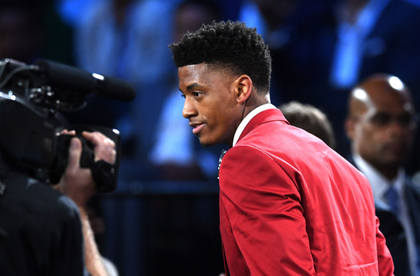 NEW YORK, NEW YORK - JUNE 20: Jarrett Culver reacts after being drafted with the sixth overall pick by the Phoenix Suns during the 2019 NBA Draft at the Barclays Center on June 20, 2019 in the Brooklyn borough of New York City. NOTE TO USER: User expressly acknowledges and agrees that, by downloading and or using this photograph, User is consenting to the terms and conditions of the Getty Images License Agreement. (Photo by Sarah Stier/Getty Images)