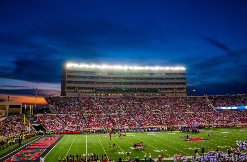 LUBBOCK, TEXAS - SEPTEMBER 07: The sun sets behind Jones AT&T Stadium during the first half of the college football game between the Texas Tech Red Raiders and the UTEP Miners on September 07, 2019 in Lubbock, Texas. (Photo by John E. Moore III/Getty Images)